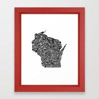Typographic Wisconsin Framed Art Print