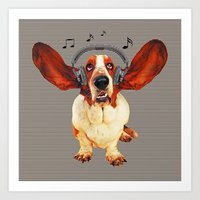 Basset Hound In Earphones Art Print