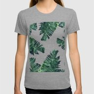Banana Leaf Watercolor P… Womens Fitted Tee Tri-Grey SMALL