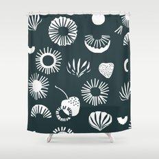 Seaflower mono Shower Curtain