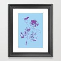 Hydranga - purple on blue Framed Art Print
