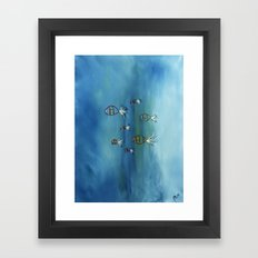 Big Blue Fishes with mustache's Framed Art Print