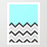 Color Blocked Chevron 16 Art Print