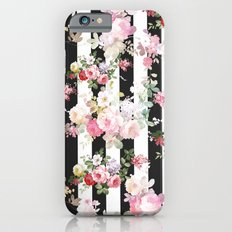 Bold pink watercolor roses floral black white stripes Slim Case iPhone 6s