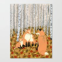 Fox Family In The Autumn… Canvas Print