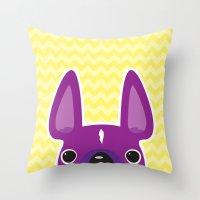 Purple Chevron Frenchie Throw Pillow