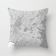 Athens Map Grey Throw Pillow