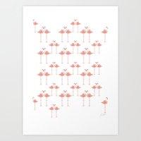 Flamingos - Tropical Bir… Art Print