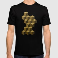 Optical wood cubes Mens Fitted Tee Black SMALL