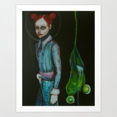 girls and frogs Art Print