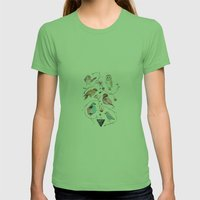 BIRDS OF THE WILD Womens Fitted Tee Grass SMALL