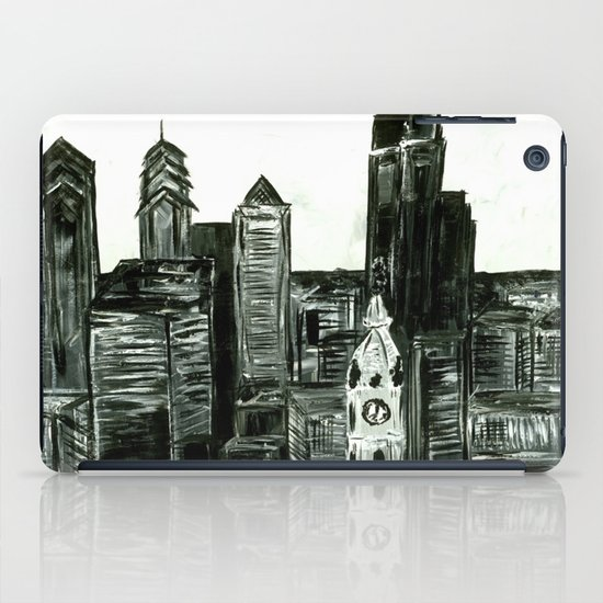 Black and White Philly Skyline iPad Case