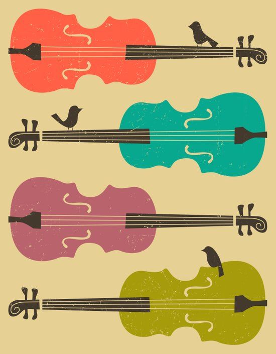 Birds on a Cello String (beige) Art Print