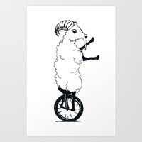 Goat On A Unicycle Art Print