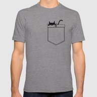 Pocket Cat Mens Fitted Tee Tri-Grey SMALL