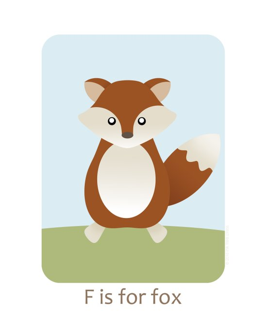F is for Fox - Woodland Animals Canvas Print
