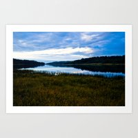 Blue Lake At Dusk Art Print