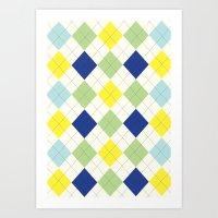 Argyle Plaid In Blue, Gr… Art Print