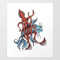 Squid and Fish Art Print