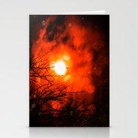 Burning Moon Stationery Cards
