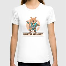 Mortal Wombat Womens Fitted Tee White SMALL