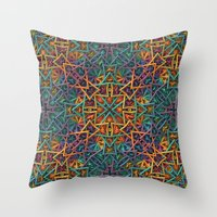 Colorful Fractal Pattern Throw Pillow