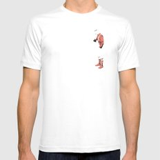 pink man SMALL White Mens Fitted Tee