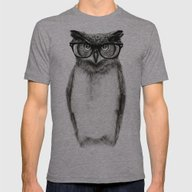 Mr. Owl Mens Fitted Tee Athletic Grey SMALL