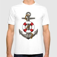 BOAT UNKER Mens Fitted Tee White SMALL