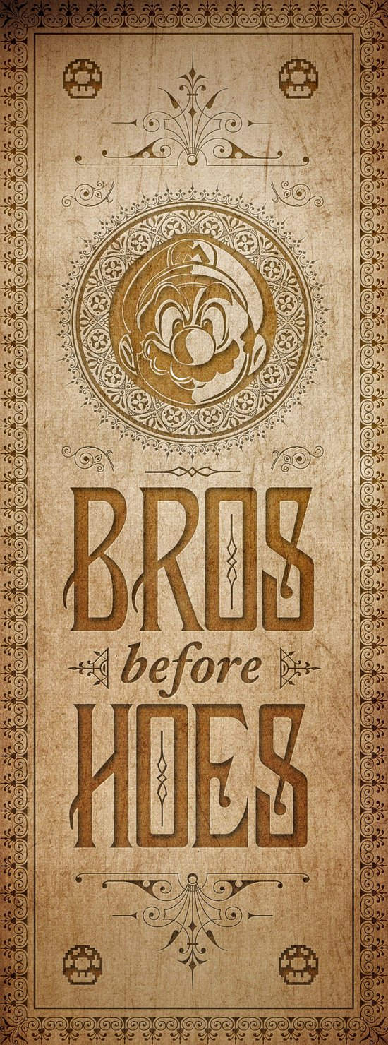 Super Mario Bros Before Hoes. Vintage Paper Banner. Art Print
