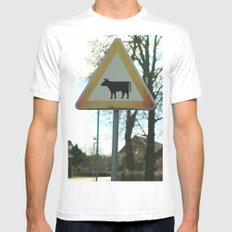 Attention Cows Mens Fitted Tee White SMALL