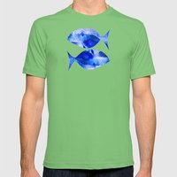 Zodiac Signs Pisces Mens Fitted Tee Grass SMALL