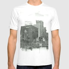 cutting through SMALL White Mens Fitted Tee