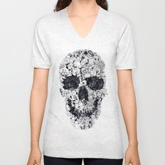 Doodle Skull BW Unisex V-Neck