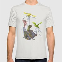 Fly Away Home Mens Fitted Tee Silver SMALL