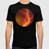 Fire and Lightning Mens Fitted Tee Black SMALL