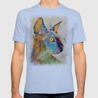 Sphynx Cat Mens Fitted Tee Tri-Blue SMALL
