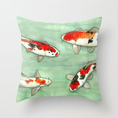 La ronde des carpes koi Throw Pillow