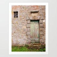 Green Door - Cortona, Italy Art Print