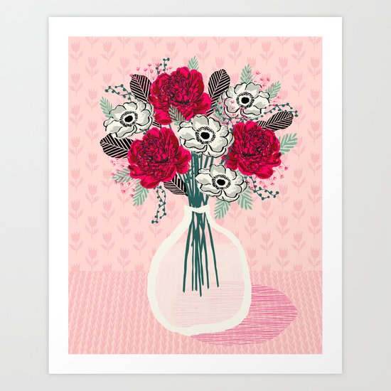 peony vase of flowers mother 39 s day art print greeting card andrea lauren illustration art print. Black Bedroom Furniture Sets. Home Design Ideas