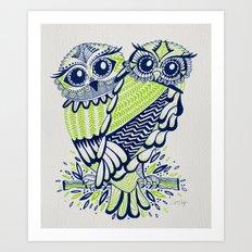 Owls – Navy & Lime Art Print