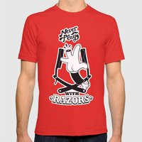 Never Play with Razors  Mens Fitted Tee Red SMALL