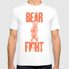 Bear Fight White SMALL Mens Fitted Tee