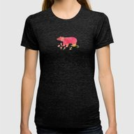Baer  With Flowers  Womens Fitted Tee Tri-Black MEDIUM