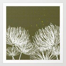 Olive Doodle Floral by Friztin Art Print