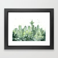 Seattle Watercolor Painting Framed Art Print