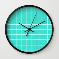 Grid (White/Turquoise) Wall Clock