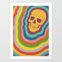 Trippy Rainbow Skull Art Print