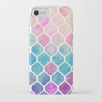 pattern iPhone & iPod Cases featuring Rainbow Pastel Watercolor Moroccan Pattern by micklyn