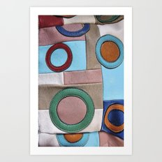 Vintage Colorful Retro Geometric Leather Patchwork Art Print